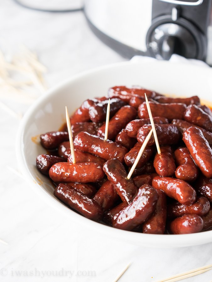 Slow Cooker Raspberry Chipotle Litl Smokies