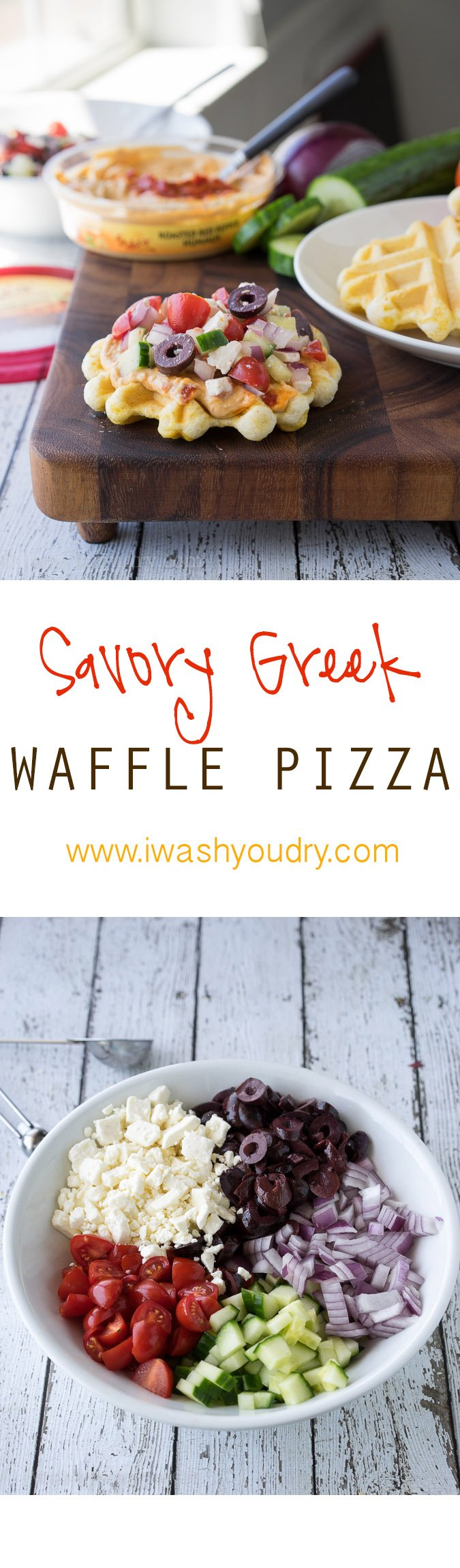 Such a fun and easy lunch or appetizer! Savory Greek Waffle Pizzas with hummus!