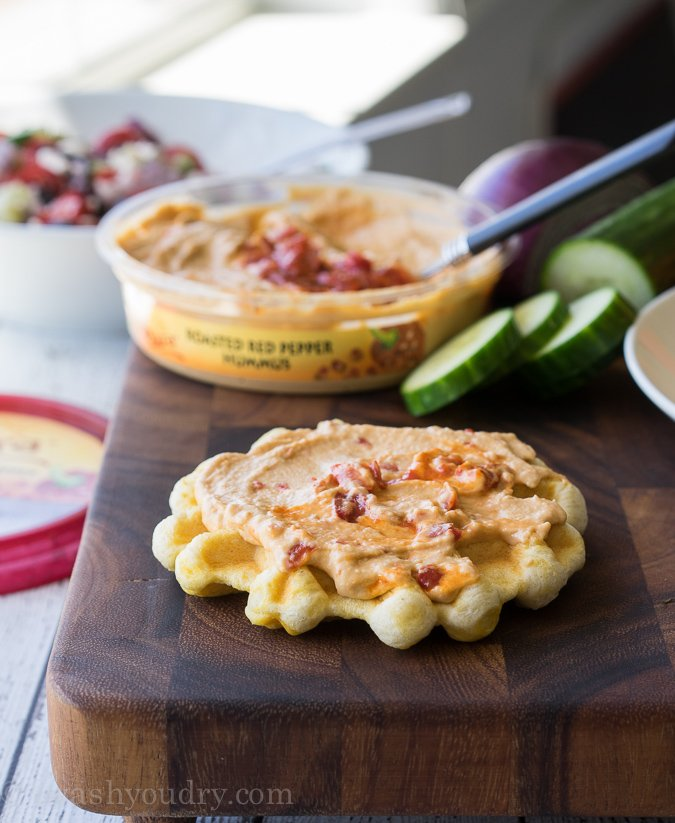 Savory Hummus Waffle Pizza