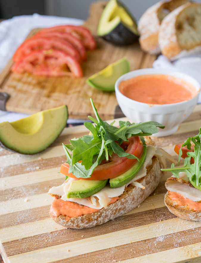 ... open faced Avocado and Chicken Ciabatta Sandwich with roasted red