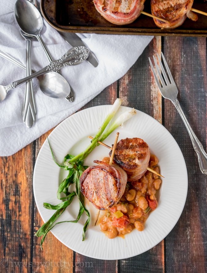 Bacon Wrapped Pork and Beans