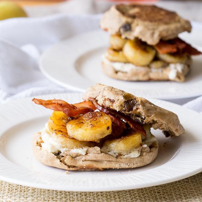 Fried Banana and Bacon Breakfast Sandwich