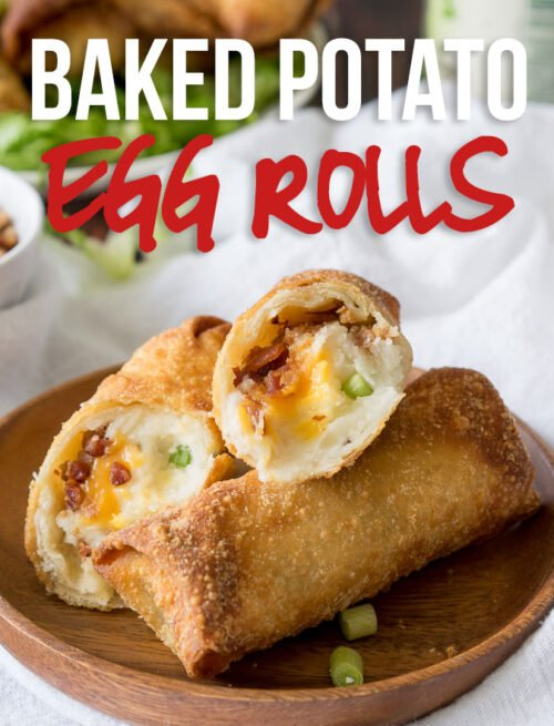 These Loaded Baked Potato Egg Rolls are the perfect appetizer recipe for game day! Great with leftover mashed potatoes too!