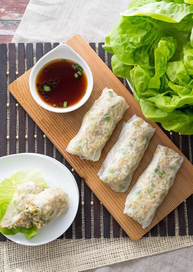 Asian Chicken Lettuce Wrap Spring Rolls