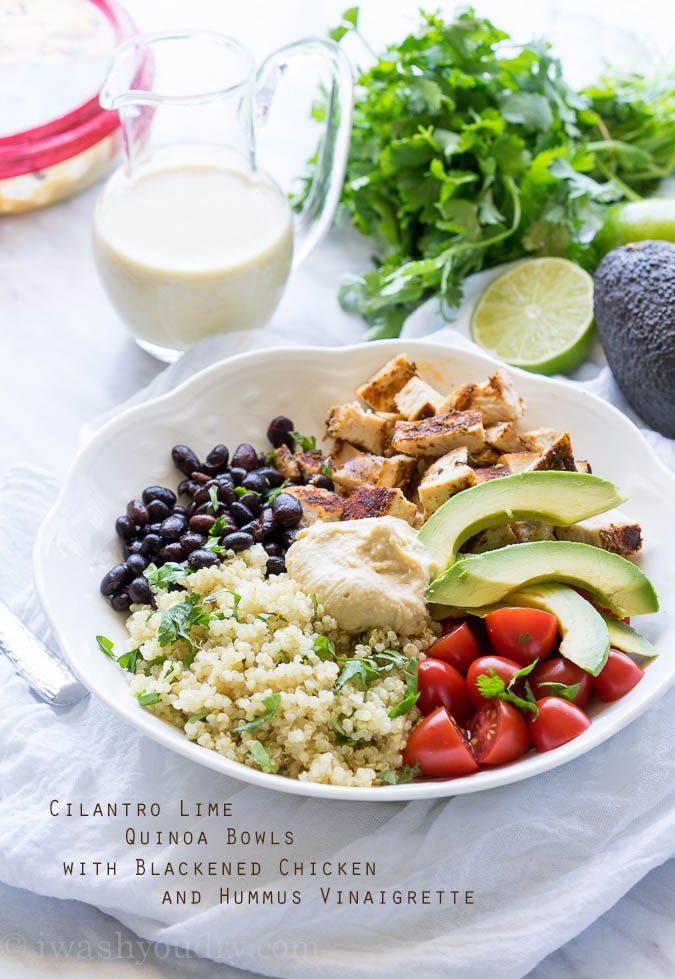 Cilantro Lime Quinoa Bowls with Hummus Vinaigrette and Blackened Chicken