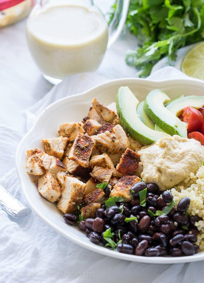 Cilantro Lime Quinoa Bowls with Hummus Vinaigrette