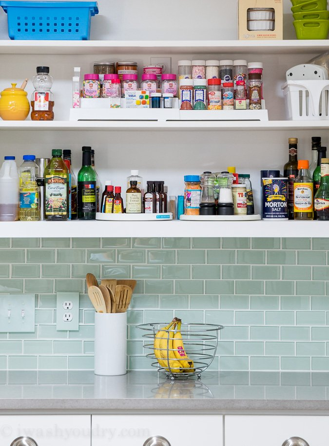 Use spice shelves to organize sprinkles. Lazy susans for extracts and other spices.