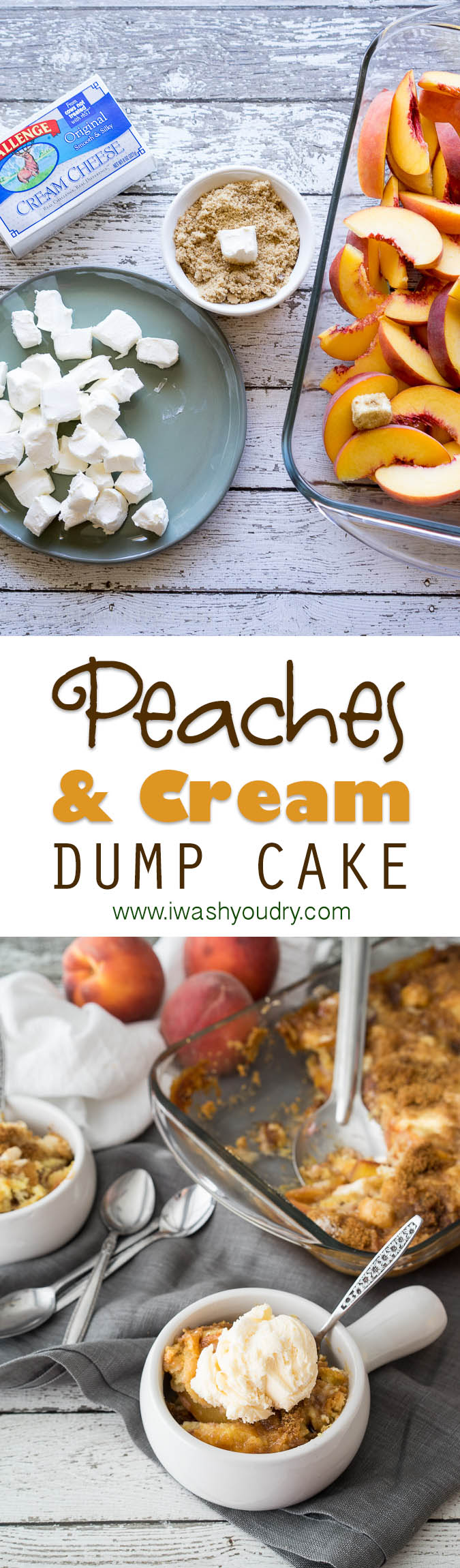 Super easy Peaches and Cream Dump Cake! No frosting needed for this party-worthy dessert!