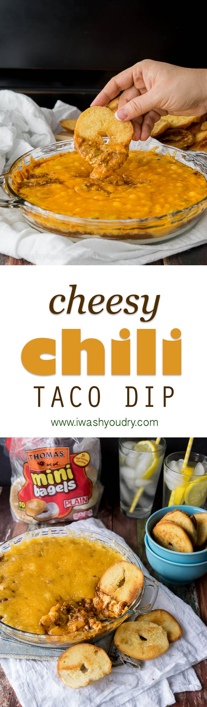 The easiest Cheesy Chili Taco Dip with homemade Bagel Crisps!