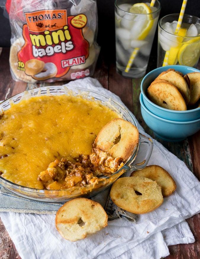 Cheesy Chili Taco Dip with Homemade Bagel Crisps