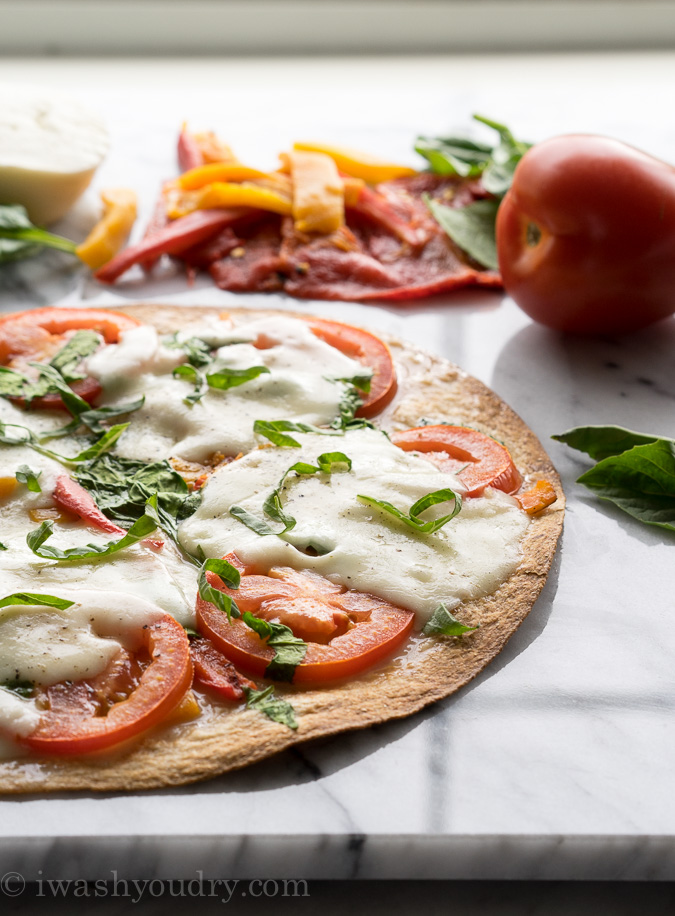 Cheesy Red Pepper Tortilla Pizza