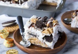 No Bake Peanut Butter Cookies and Cream Icebox Cake
