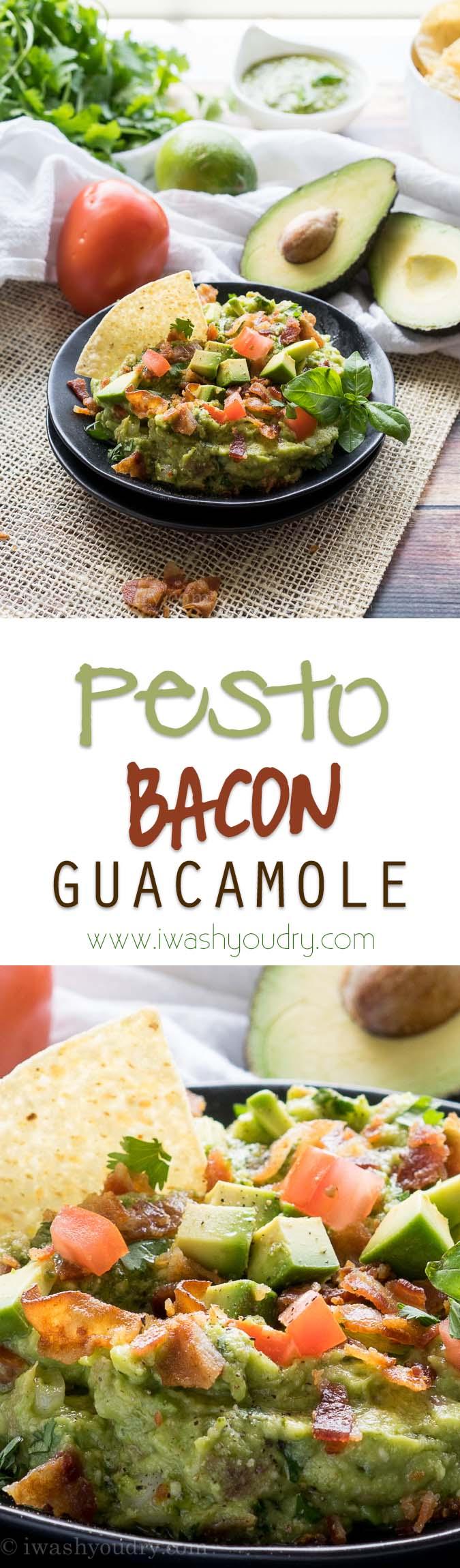 This Pesto Bacon Guacamole is such a fun way to make guacamole!