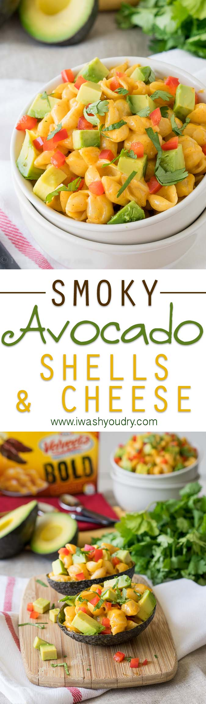 Smoky Avocado Shells and Cheese! Love the spice and flavors of this super easy snack or dinner recipe!