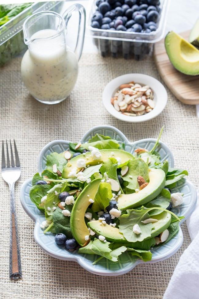 Superfood Avocado Blueberry Salad with Lemon Poppyseed Dressing!