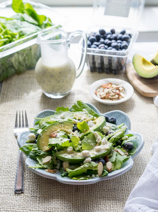 Superfood Avocado Blueberry Salad with Lemon Poppyseed Dressing!