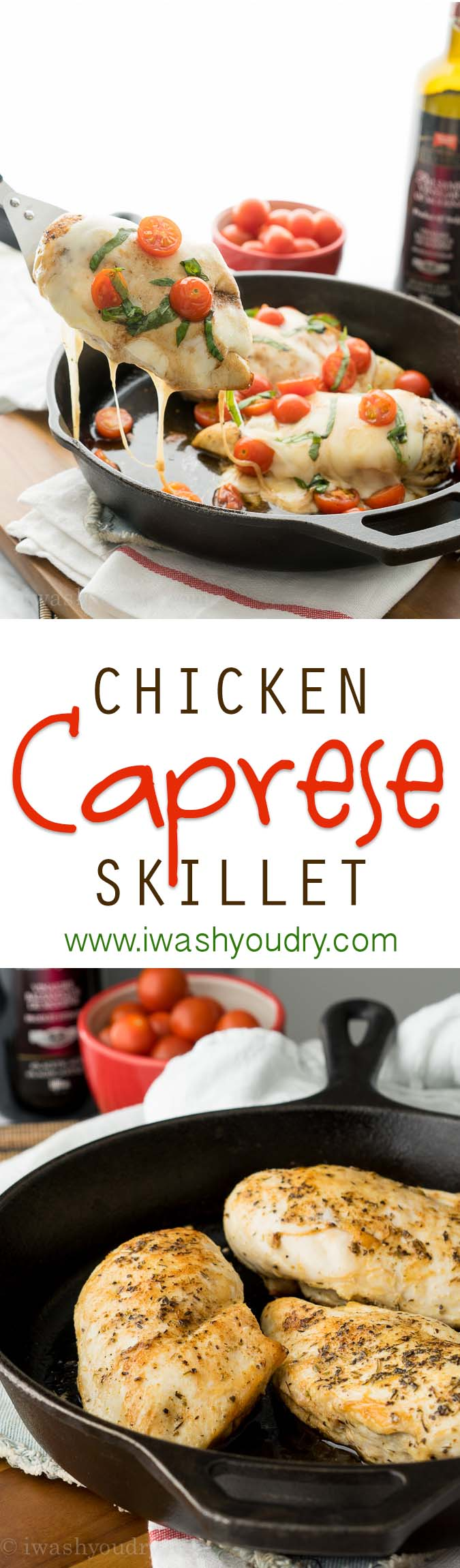 All you need is ONE SKILLET for this crazy delicious Chicken Caprese Skillet recipe. My family loves this one!