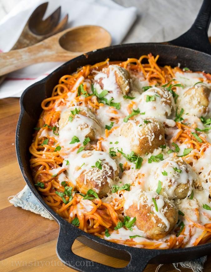 Chicken Parmesan Meatball Skillet