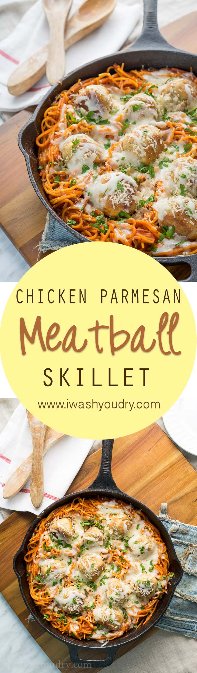 Such a fun twist on the classic! This Chicken Parmesan Meatball Skillet only uses one skillet for the whole dish! Even the pasta is cooked in there!