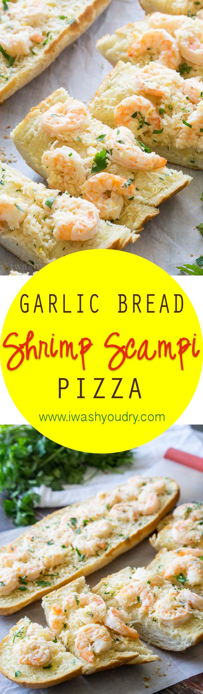 This quick and easy weeknight dinner is a family favorite! We love the Shrimp Scampi on top of the garlic bread! So good!