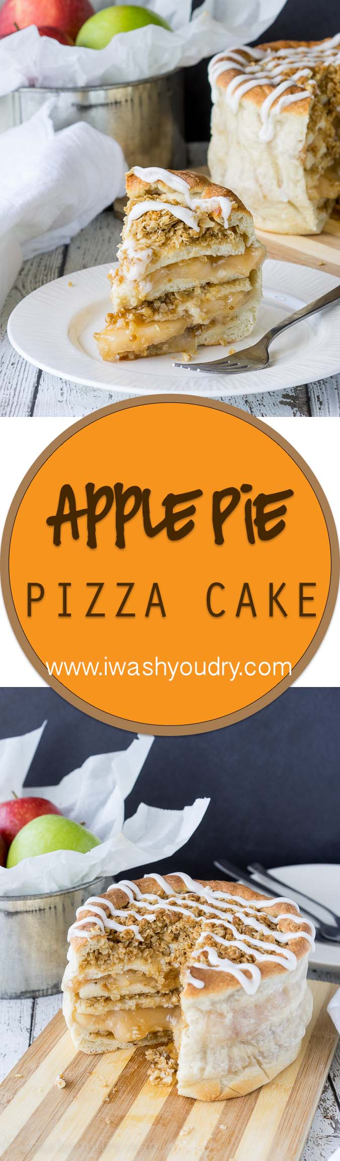 The Apple Pie Pizza Cake is a sweet dessert that's layered with apple pie filling and brown sugar oat crumble, then wrapped up with pizza dough and served with a sweet icing on top! Sooooo good!