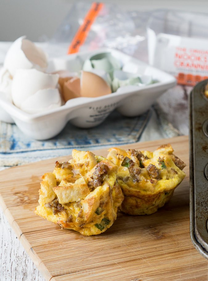 On the Go! These Sausage Egg and Cheese Breakfast Casserole Muffins are a fun savory breakfast!