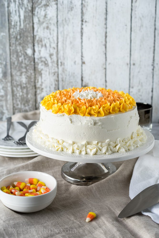 Candy Corn Layer Cake! The perfect dessert for this year's Halloween Party!