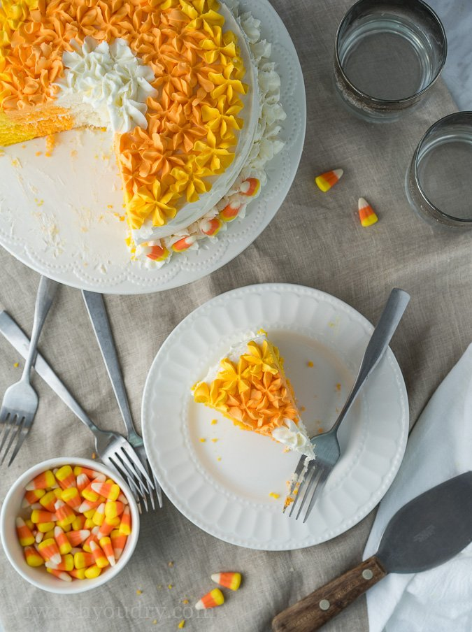 Candy Corn Layer Cake! The perfect dessert for your Halloween party!