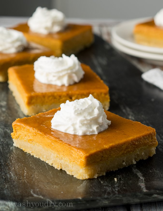 OMG! These Pumpkin Pie Bars are seriously the best ever! The crust is like a shortbread cookie, and they are perfect for taking to potlucks and parties! Everyone always asks for the recipe!