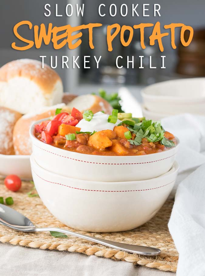 My family really enjoyed this easy Slow Cooker Sweet Potato Turkey Chili recipe! I loved that it was such an easy clean up too!