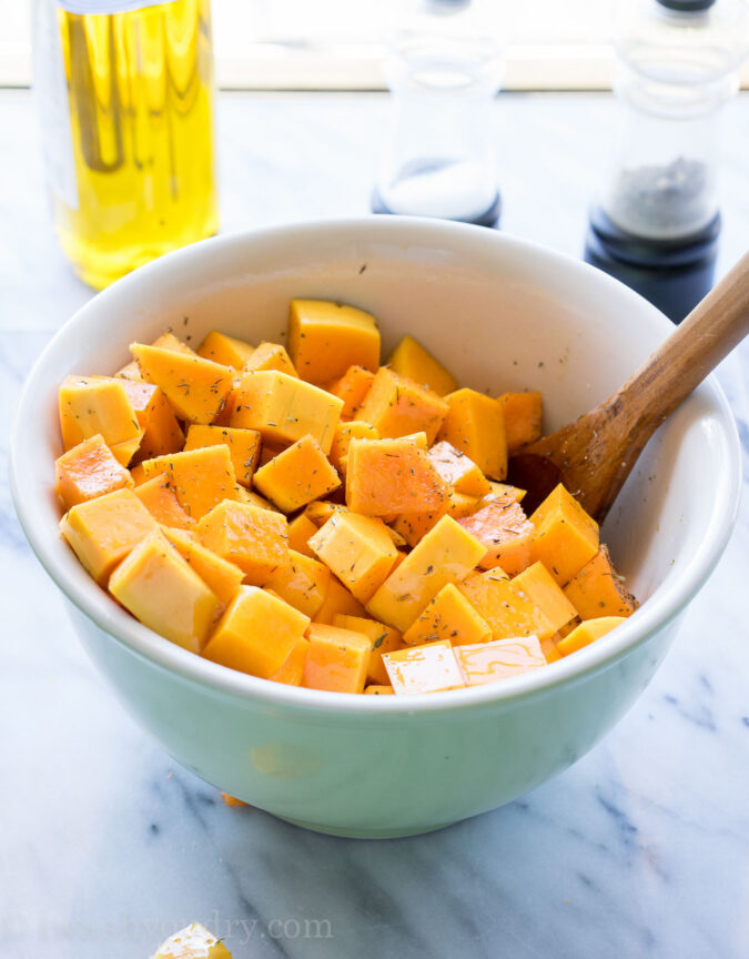 I love this recipe on how to roast butternut squash cubes! So great for adding to salads!