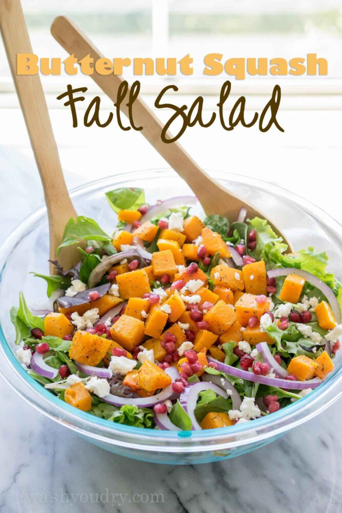 This super easy Butternut Squash Fall Salad is filled with pomegranate, feta cheese, purple onion and roasted butternut squash! It's such a great salad recipe to have on hand!