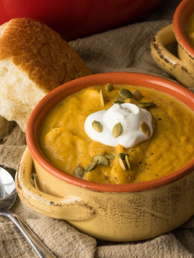 This Creamy Pumpkin and Acorn Squash Soup is the perfect recipe to ...