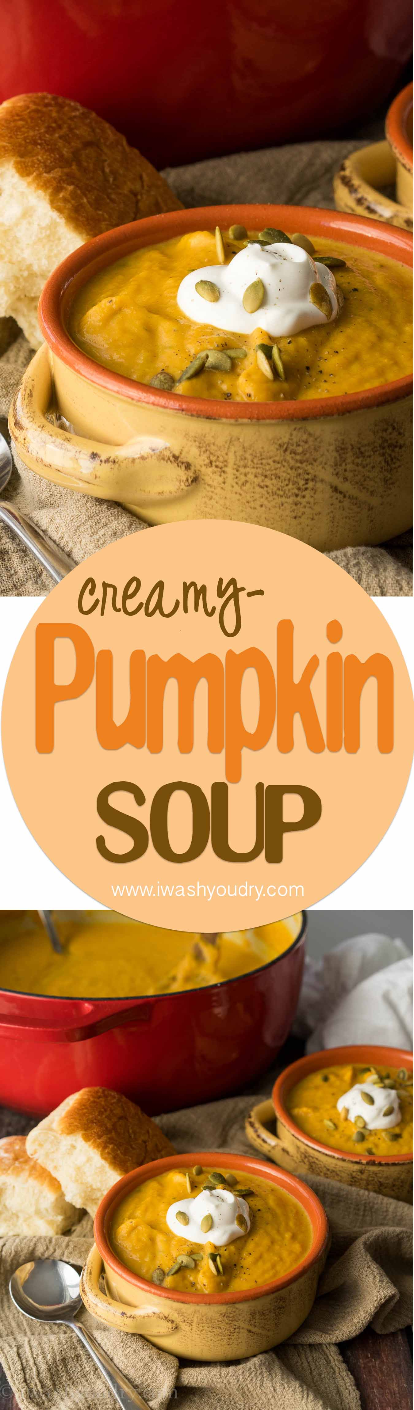This Creamy Pumpkin and Acorn Squash Soup is the perfect recipe to warm up on a cold winter's night! I love the roasted pepitas on top!