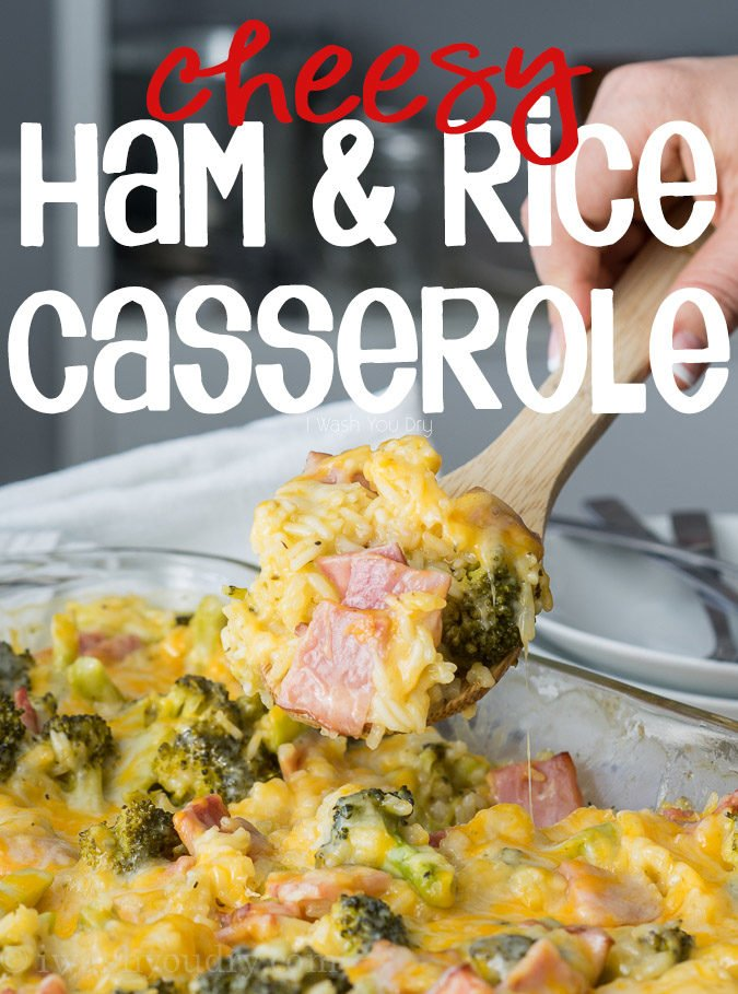 This Cheesy Leftover Ham and Rice Casserole recipe is a great way to use up some leftover Ham from the holidays! Plus you can easily substitute in leftover turkey or chicken too!