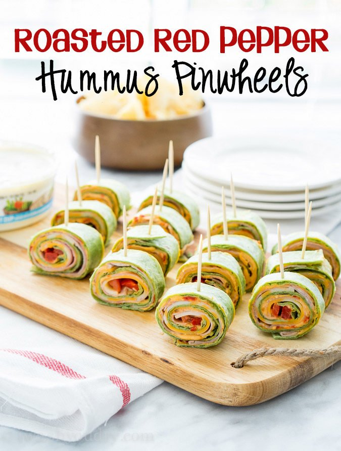 These Roasted Red Bell Pepper Hummus Pinwheels are full of so much ...