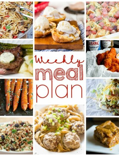 A grid of 10 different pictures of food with text in the center square