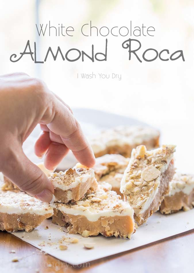 Crazy easy, 5 ingredient, White Chocolate Almond Roca! My family can't get enough of this stuff!