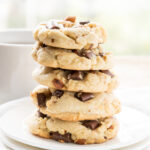 These Almond Toffee Chocolate Chip Cookies are soft and delicious and filled with chocolate chunks too!