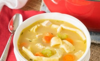 My family loves this Homemade Turkey Noodle Soup recipe! It's filled with homemade egg noodles (which are really easy to make), turkey (you can use chicken too), and lots of veggies!