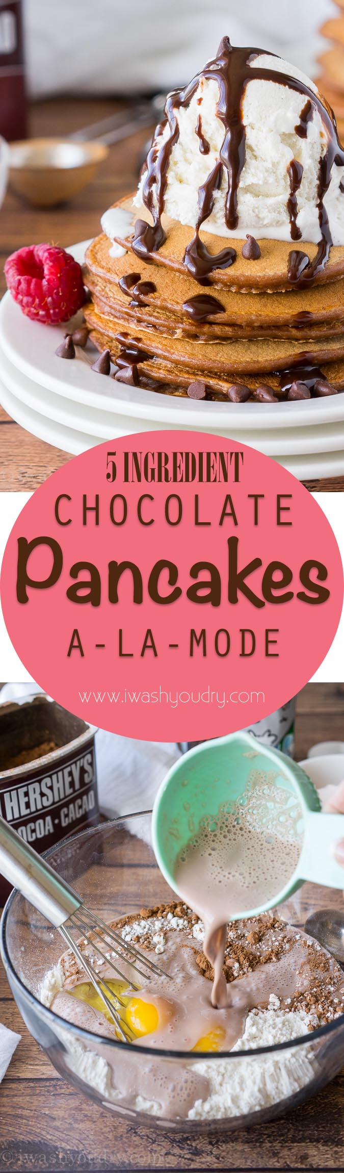 These Chocolate Pancakes are just a few simple ingredients and are made extra special with a scoop of vanilla ice cream and drizzle of chocolate syrup!