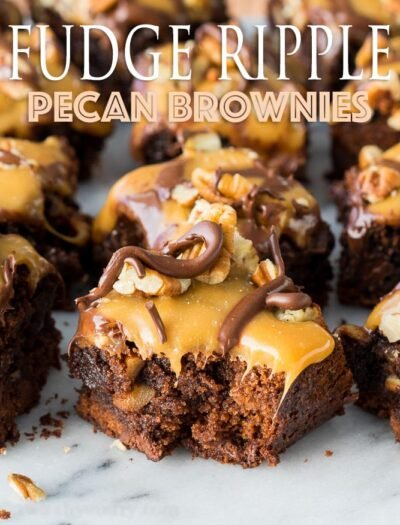 OMG! My husband asked me to make these Fudge Ripple Pecan Brownies two times before he even finished his first one! So good and so easy!