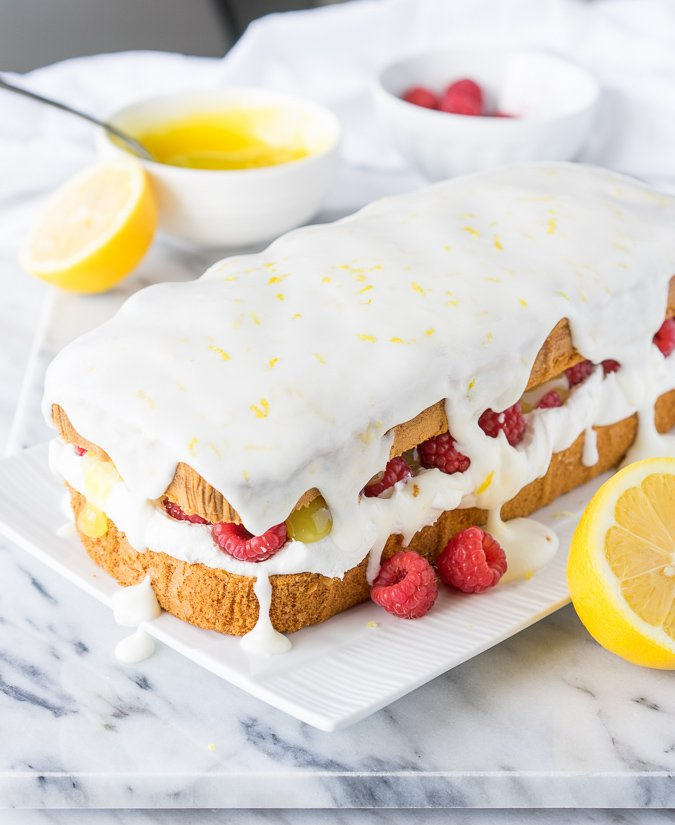 Lemon Raspberry Stuffed Pound Cake
