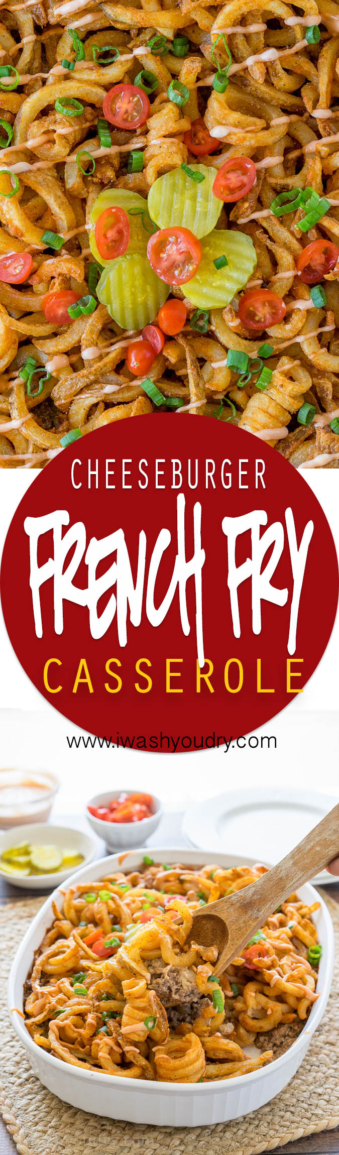 This Cheeseburger and French Fry Casserole is filled with all the hamburger favorites and even topped with crispy seasoned french fries and a creamy fry sauce!