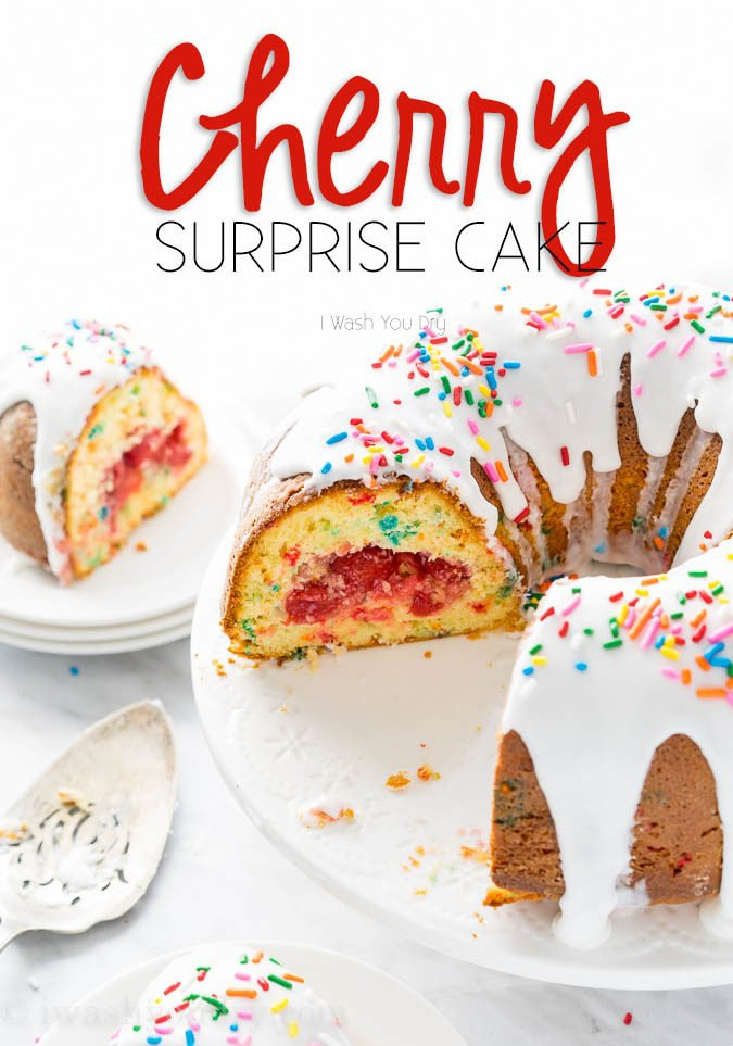This Cherry Surprise Cake is a moist funfetti cake that's filled with cherry pie filling! So fun and so delicious, my whole family loved it!