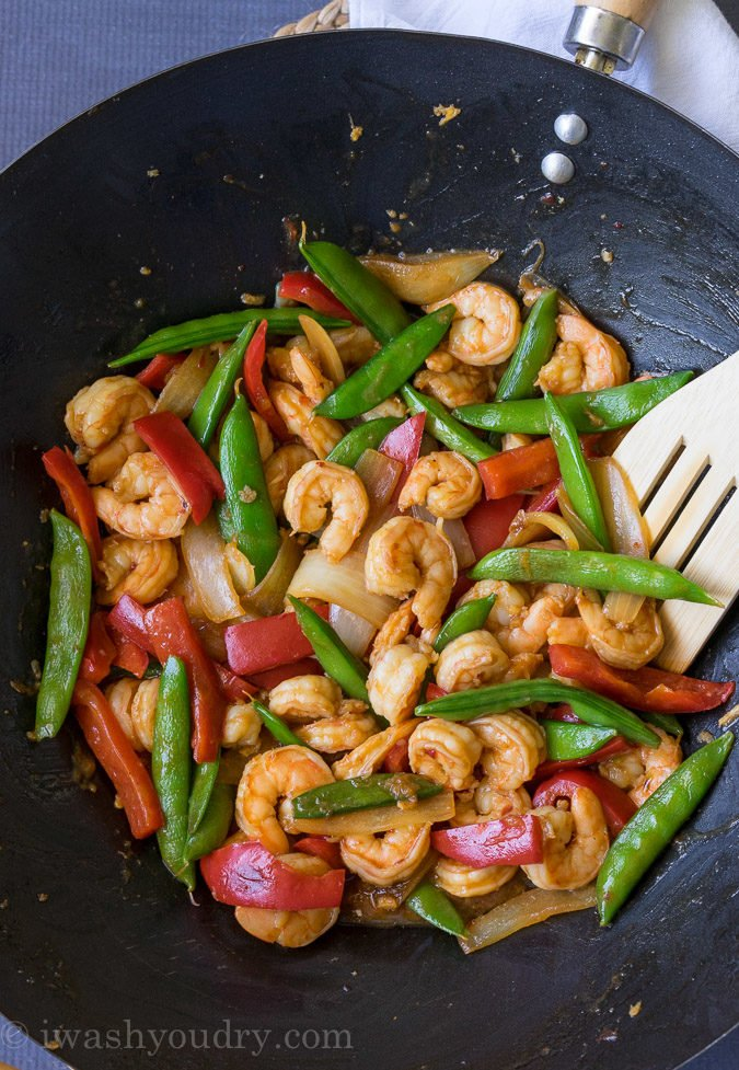I'm in love with this Pacific Chili Shrimp Stir Fry. It tastes just like the popular new dish at Panda Express. Super quick and easy, my whole family loves it!