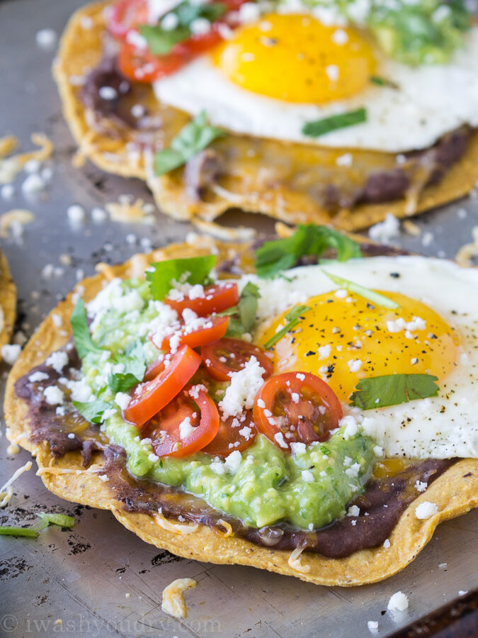 Huevos Rancheros Breakfast Tostadas with Avocado Salsa Verde