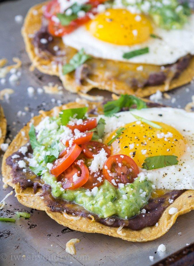 Huevos Rancheros Breakfast Tostadas with Avocado Salsa Verde - I Wash ...
