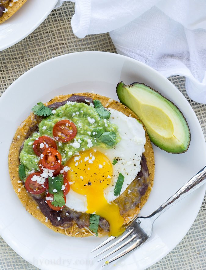 Huevos Rancheros Breakfast Tostadas with Avocado Salsa Verde - I Wash ...