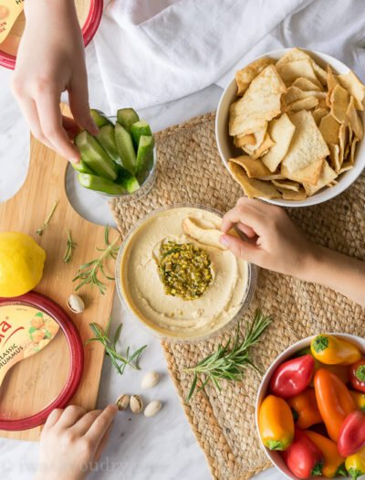 The bold and delicious flavors of Pistachio, Rosemary and Lemon come together in a tasty hummus topping that no one can resist when placed on top of creamy Sabra hummus!